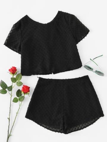 Shein Split Tie Back Jacquard Top And Shorts Co-ord