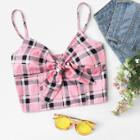 Shein Knot Front Shirred Back Plaid Cami Top