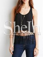 Shein Black Sleeveless Tassel Tank Top