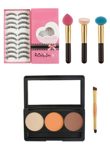 Shein Makeup Tool Set With False Eyelashes
