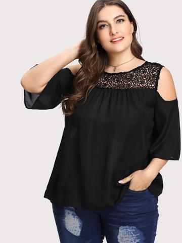 Shein Contrast Lace Open The Shoulder Top