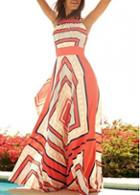 Rosewe Geometric Print Sleeveless Chiffon Maxi Dress
