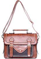 Shein Coffee Belt Buckle Vintage Shoulder Bag