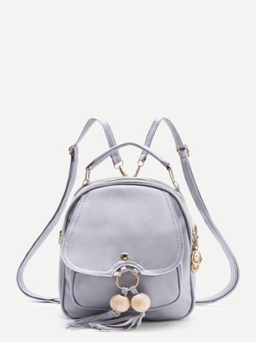 Shein Wood Beads Detail Pu Backpack With Tassel