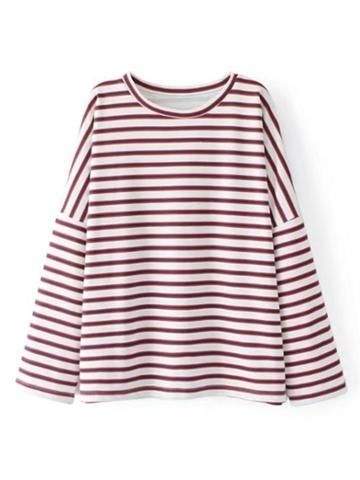 Shein Drop Shoulder Boyfriend Striped Sweatshirt