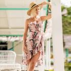 Shein Florals Ruffle Trim Asymmetrical Cami Dress