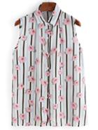 Shein Vertical Striped Flower Print Sleeveless Blouse