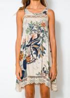 Shein Multicolour Sleeveless Floral Peplum Hem Loose Dress
