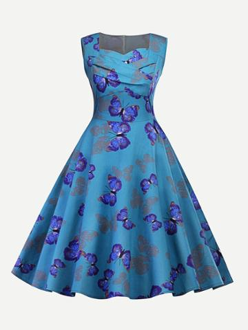Shein Butterfly Print Sweetheart Neck Dress