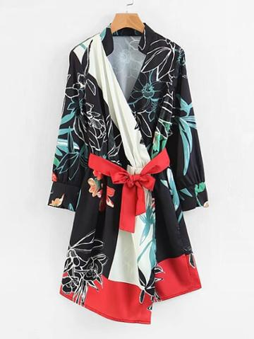 Shein Florals Belted Wrap Dress