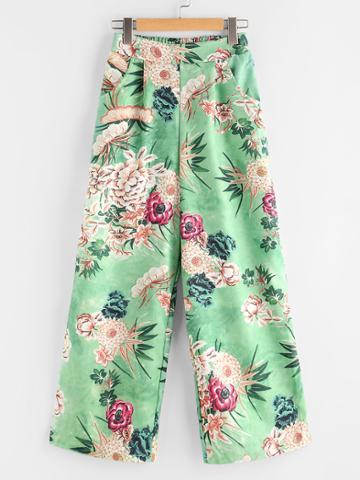 Shein Floral Print Random Elastic Back Pants
