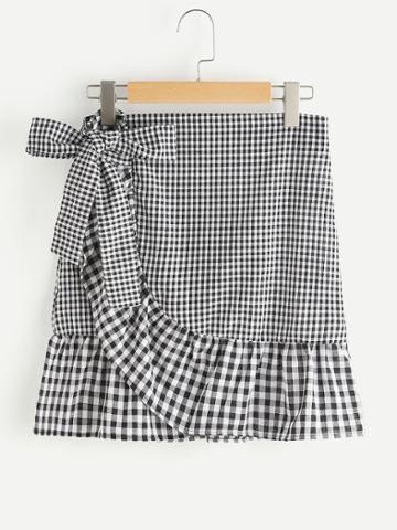 Shein Gingham Layered Frill Hem Bow Skirt