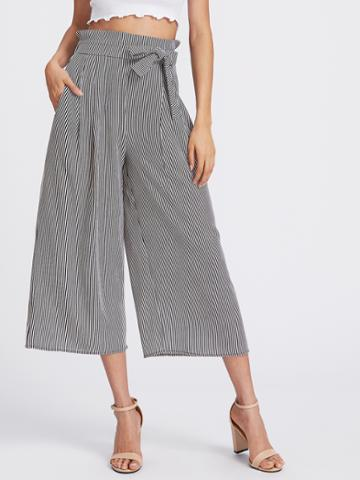 Shein Vertical Pinstriped Bow Tie Wide Leg Pants