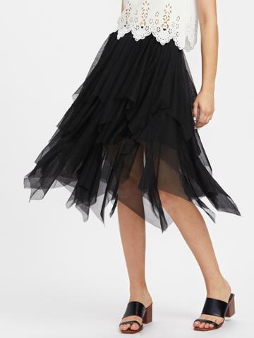 Shein Layered Handkerchief Hem Skirt