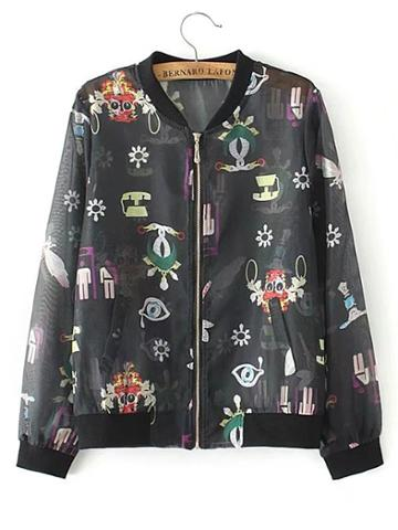 Shein Cartoon Print Zipper Up Jacket