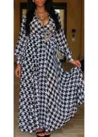 Rosewe V Neck Houndstooth Print Maxi Dress