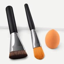 Shein Makeup Brush With Makeup Puff 3pack