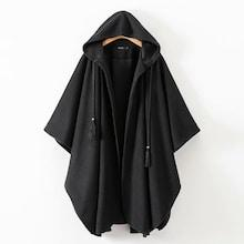 Shein Drawstring Hooded Capes Coat