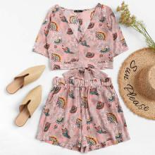 Shein Botanical Print Plunging Neck Belted Top And Shorts Set