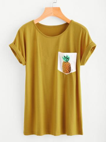Shein Contrast Pineapple Print Pocket Cuffed Tee