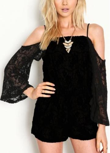 Rosewe Charming Strap Design Flare Sleeve Black Lace Rompers