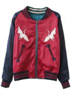 Shein Red Long Sleeve Embroidery Baseball Jacket