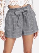 Shein Self Belted Plaid Shorts