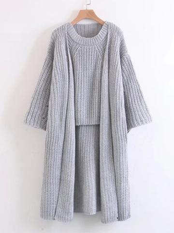 Shein Open Front Longline Cardigan With Vest