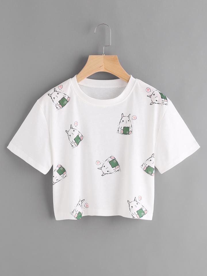 Shein Cartoon Print Crop Tshirt
