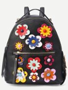 Shein Black Flower Applique Backpack