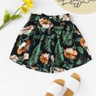 Shein Floral Print Belted Shorts