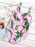 Shein Pink Leaf Print One-piece Swimwear