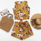 Shein Flower Print Surplice Wrap Crop Top And Shorts Set