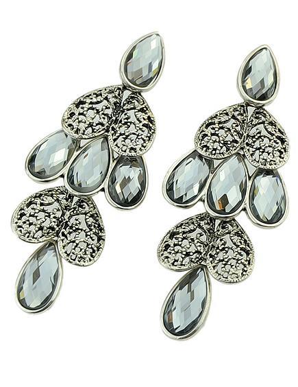 Shein Grey Drop Gemstone Silver Heart Earrings