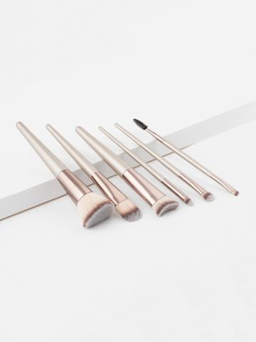 Shein Metallic Handle Makeup Brush 6pcs