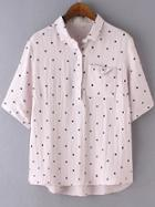 Shein Pink Lapel Polka Dots Dipped Hem Pocket Blouse