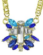 Shein Blue Flower Stone Pendant Necklace