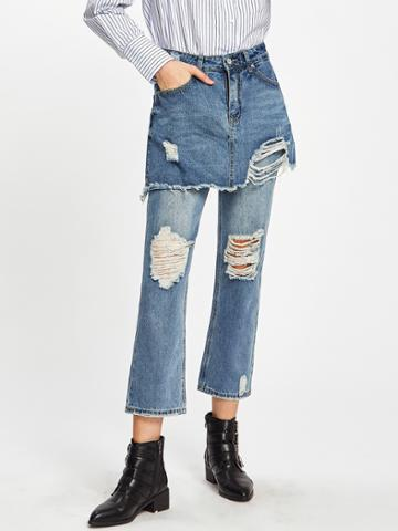 Shein Ripped Double Layered Skirt Jeans
