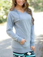 Shein Grey Drawstring Hooded Pockets Sweatshirt