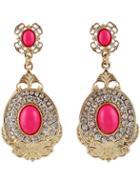 Shein Red Gemstone Gold Diamond Earrings
