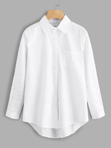 Shein Eyelet Embroidered Panel High Low Shirt