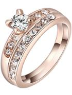 Shein Rose Gold Diamond Ring Sets With White Zircon Crystal