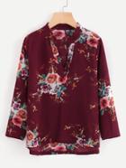 Shein Roll-up Sleeve Dip Hem Florals Blouse