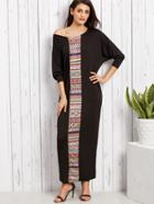 Shein Tribal Print Dolman Sleeve Maxi Dress