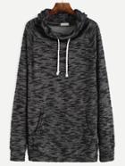 Shein Black Drawstring Cowl Neck Sweatshirt With Pocket