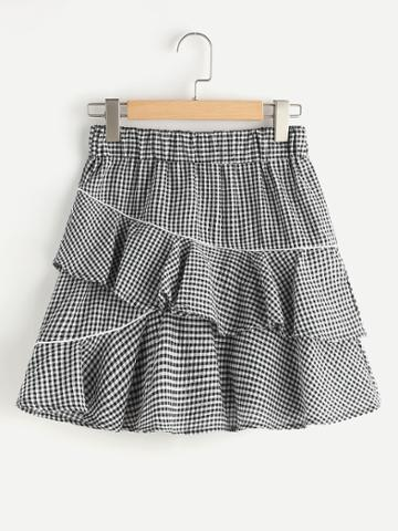 Shein Gingham Tiered Frill Skirt