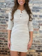 Shein White Elbow Sleeve Striped Tshirt Dress