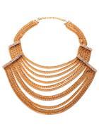 Shein Gold Plated Layered Rhinestone Statement Necklace