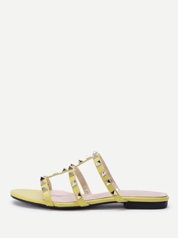Shein Open Toe Studded Detail Strappy Slippers