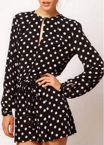 Rosewe Latest Long Sleeve Polka Dot Rompers For Girls